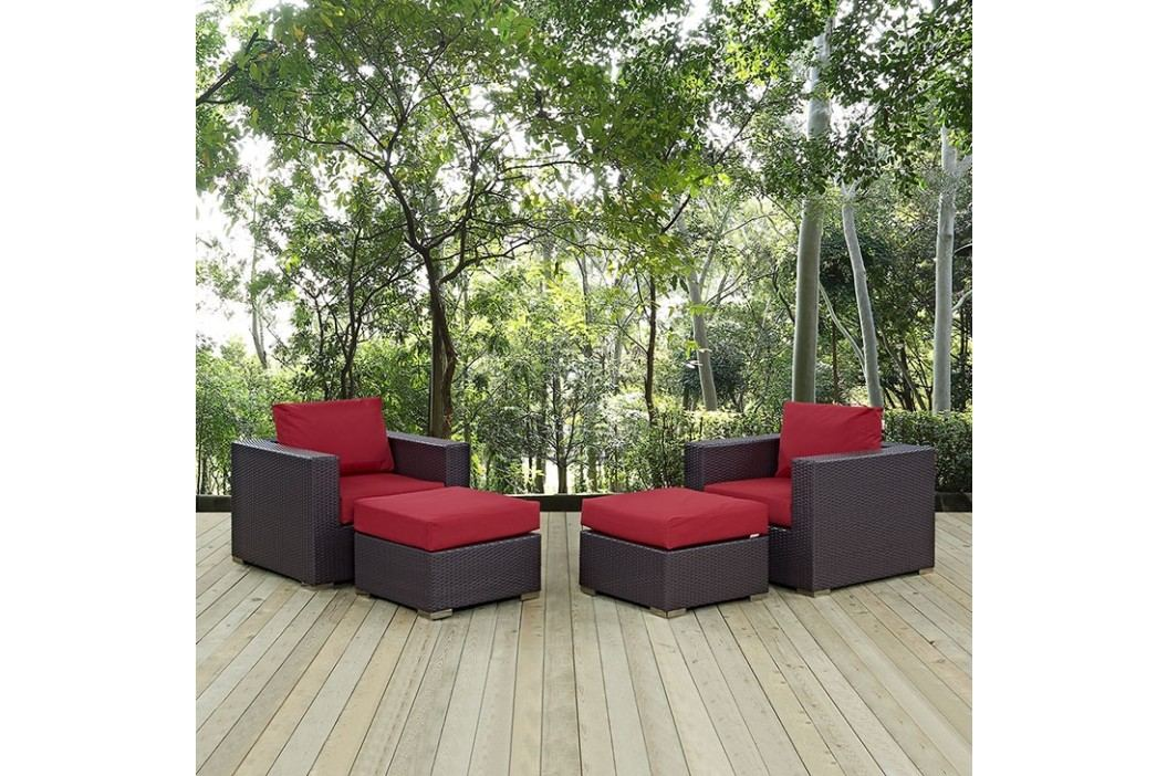 Convene 4 Piece Outdoor Patio Sectional Set in Espresso Red Outdoor Lounge Sets
