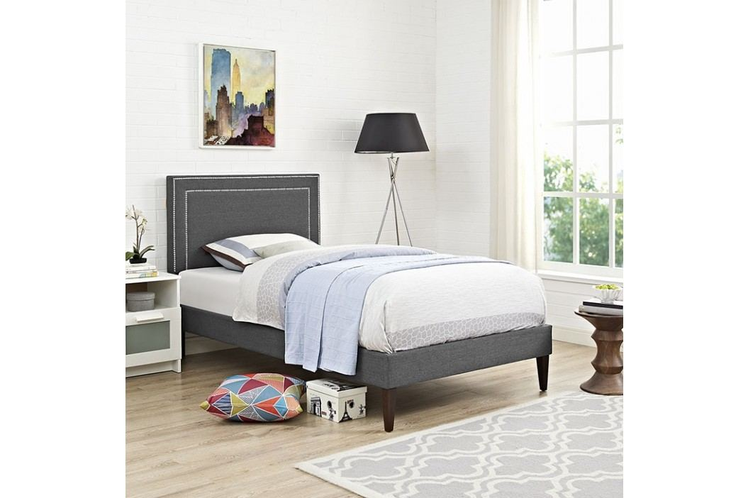Jessamine  Twin Fabric Platform Bed with Squared Tapered Legs in Gray Beds