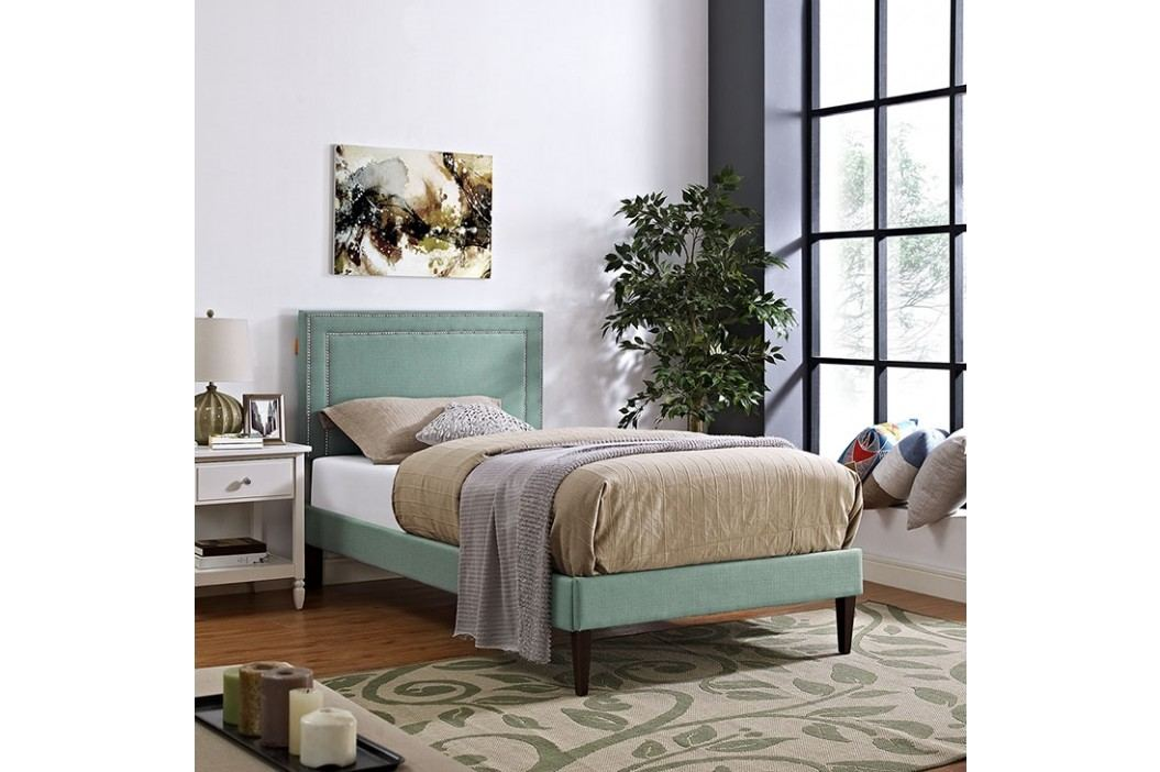 Jessamine  Twin Fabric Platform Bed with Squared Tapered Legs in Laguna Beds