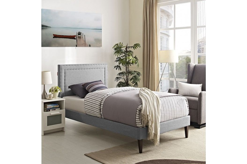 Jessamine  Twin Fabric Platform Bed with Squared Tapered Legs in Light Gray Beds