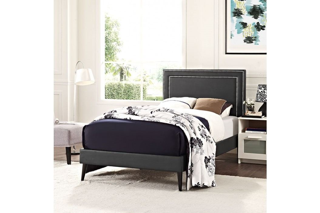 Jessamine  Twin Vinyl Platform Bed with Round Tapered Legs in Black Beds