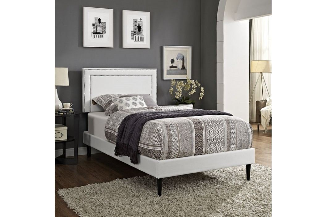 Jessamine  Twin Vinyl Platform Bed with Round Tapered Legs in White Beds