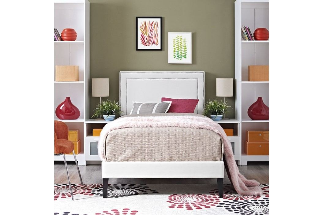 Jessamine  Twin Vinyl Platform Bed with Squared Tapered Legs in White Beds