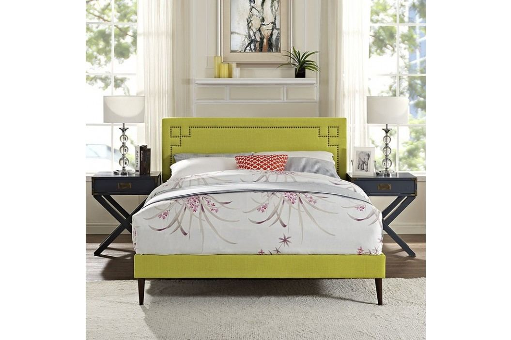 Josie Full Fabric Platform Bed with Round Tapered Legs in Wheatgrass Beds