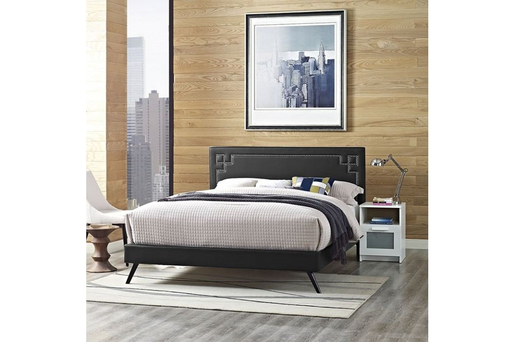 Josie Full Vinyl Platform Bed with Round Splayed Legs in Black