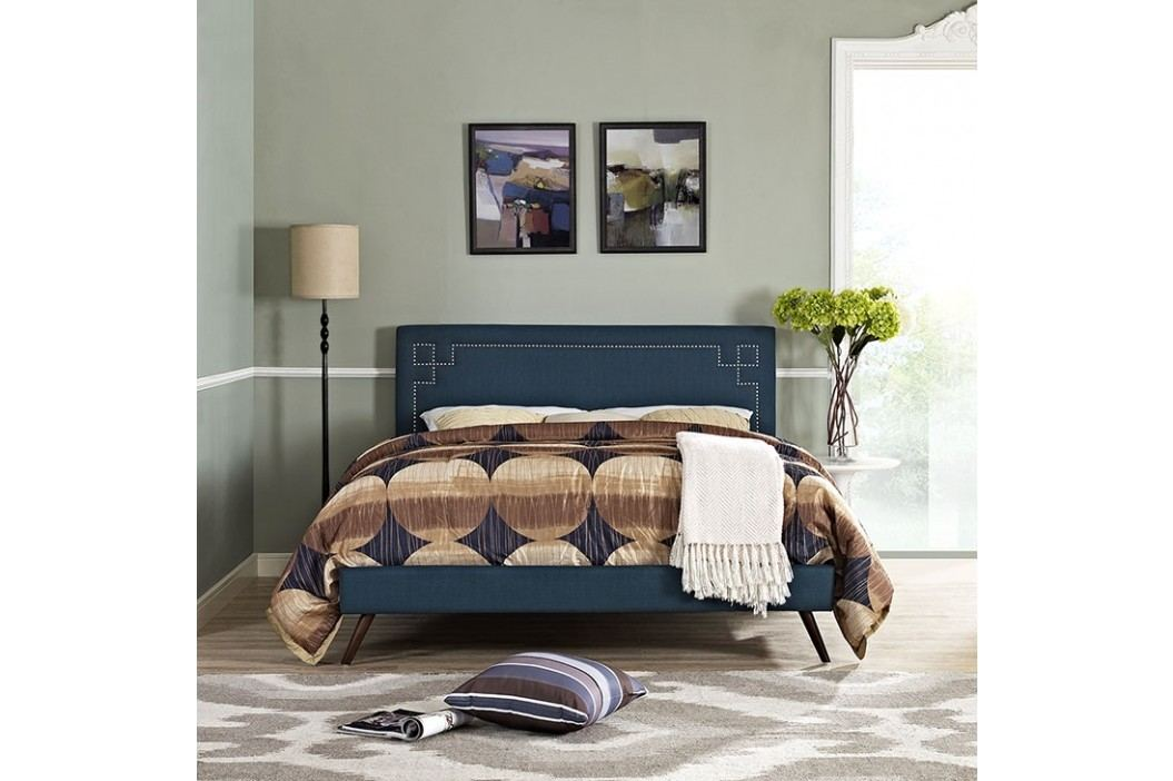 Josie King Fabric Platform Bed with Round Splayed Legs in Azure Beds