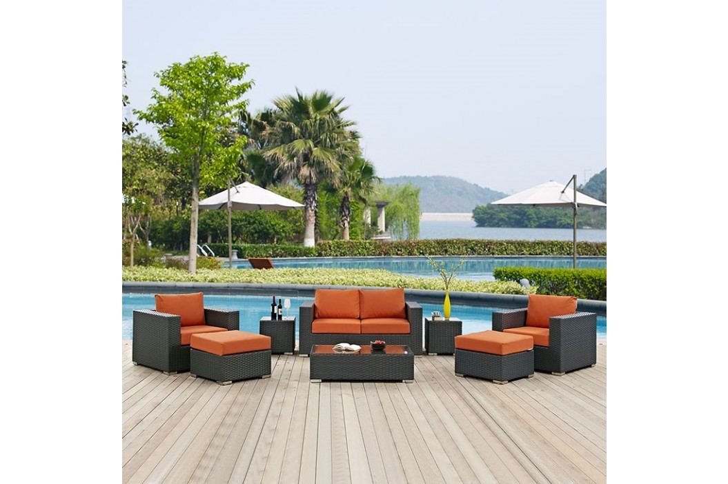 Sojourn 8 Piece Outdoor Patio Sunbrella?? Sectional Set in Canvas Tuscan Outdoor Lounge Sets