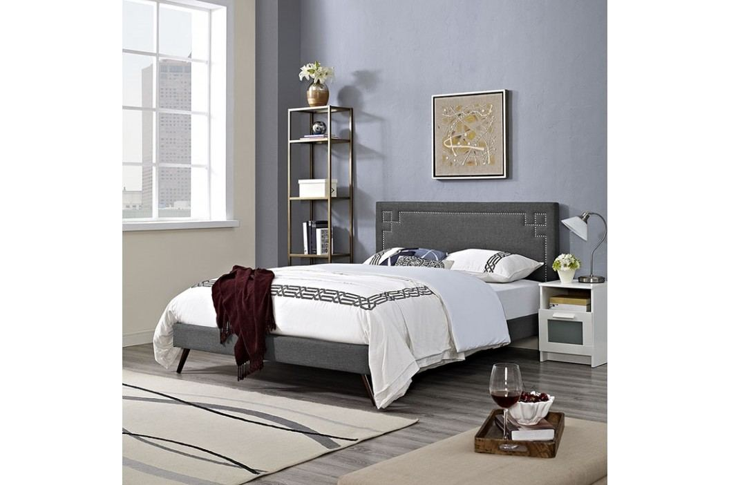 Josie King Fabric Platform Bed with Round Splayed Legs in Gray Beds