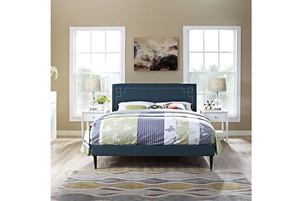 Josie King Fabric Platform Bed with Round Tapered Legs in Azure Beds