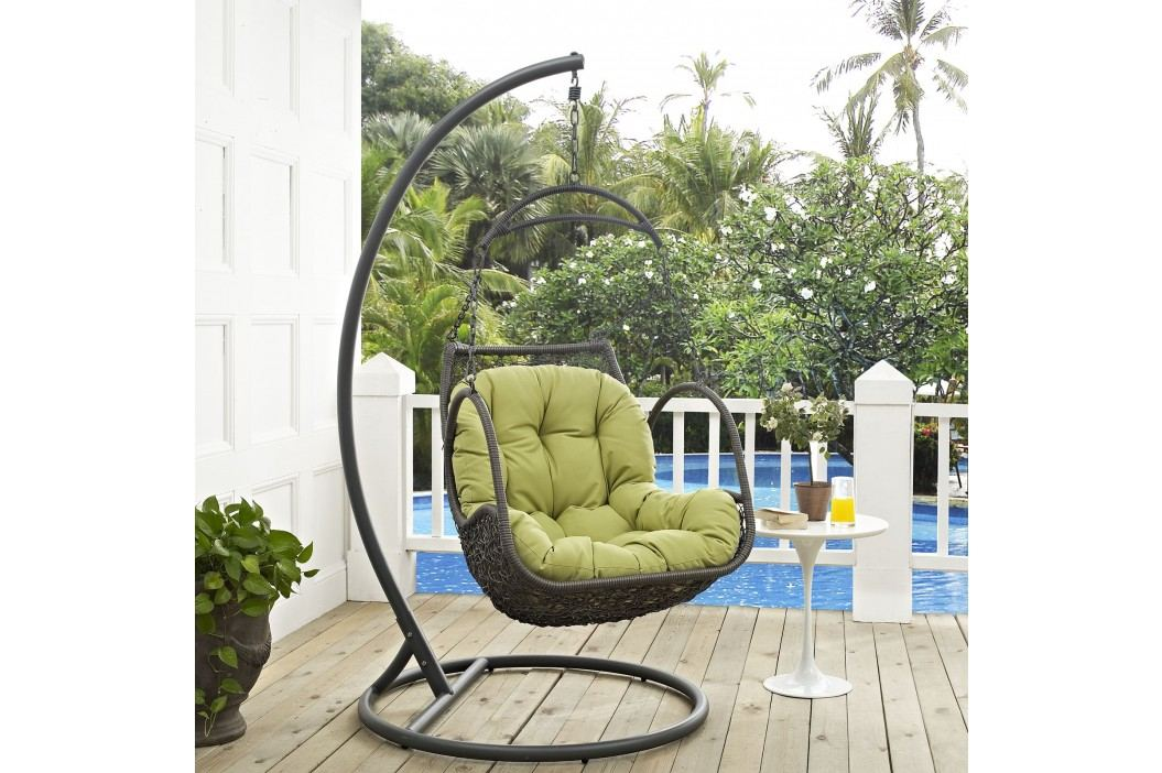 Arbor Outdoor Patio Wood Swing Chair in Peridot Daybeds and Lounges