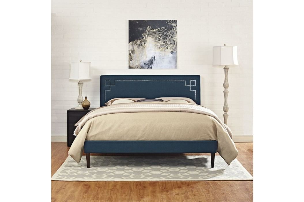 Josie King Fabric Platform Bed with Squared Tapered Legs in Azure Beds