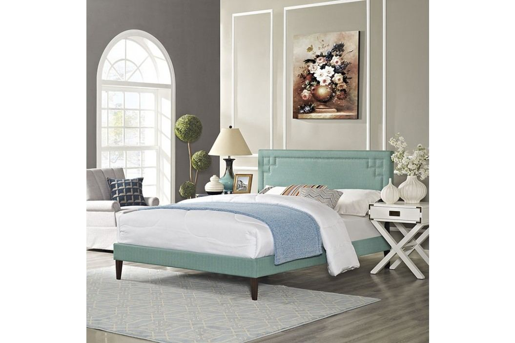 Josie King Fabric Platform Bed with Squared Tapered Legs in Laguna Beds