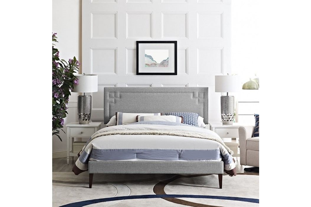Josie King Fabric Platform Bed with Squared Tapered Legs in Light Gray Beds