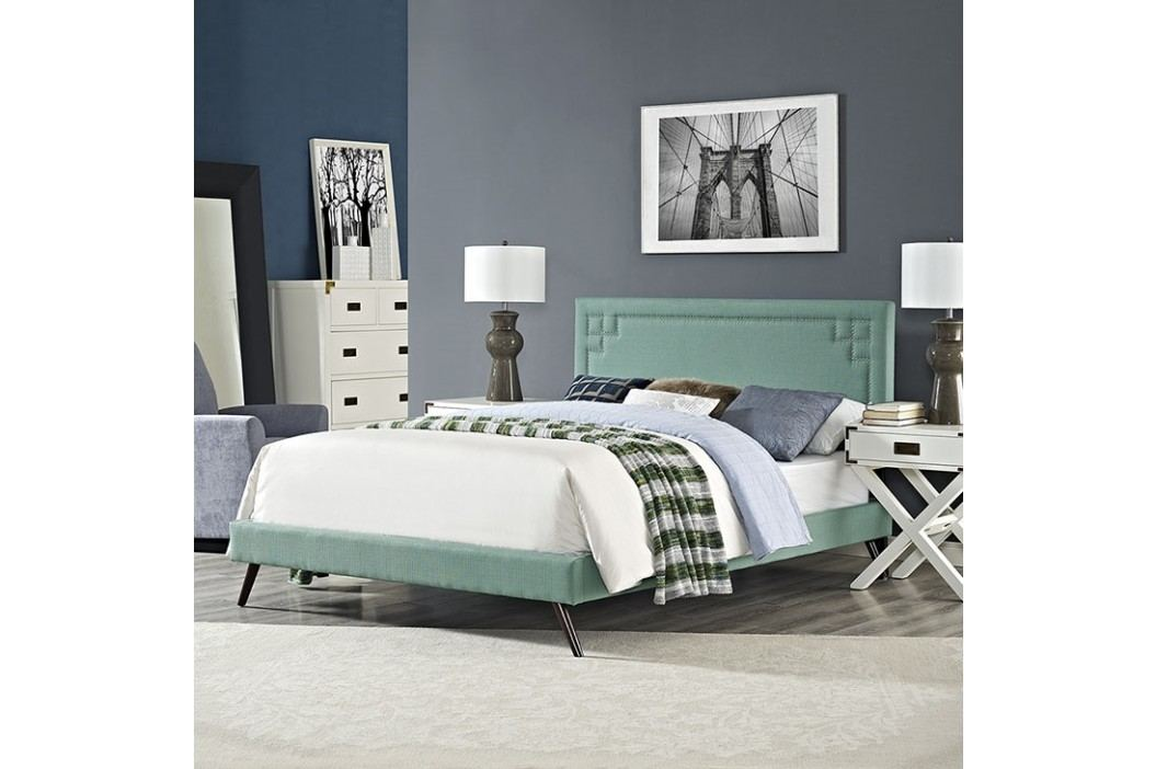 Josie Queen Fabric Platform Bed with Round Splayed Legs in Laguna Beds