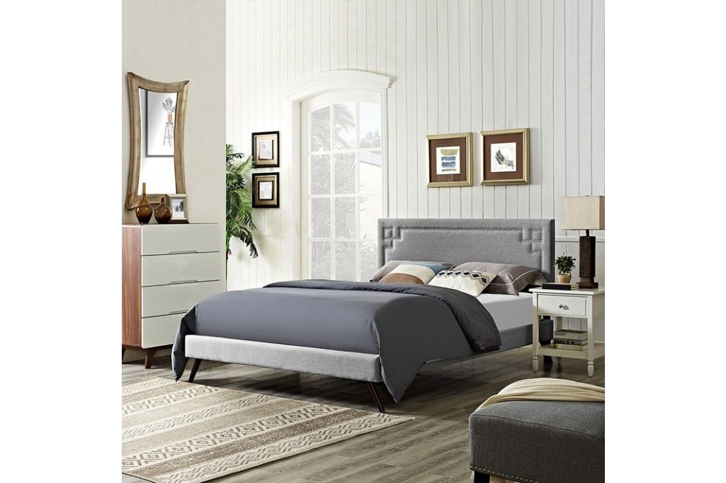 Josie Queen Fabric Platform Bed with Round Splayed Legs in Light Gray Beds