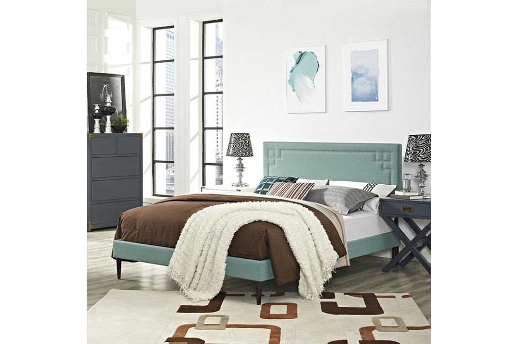 Josie Queen Fabric Platform Bed with Round Tapered Legs in Laguna Beds