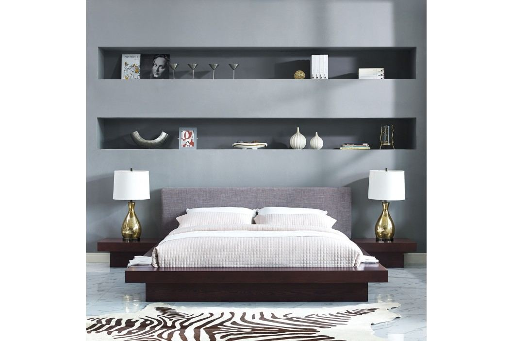 Freja 3 Piece Queen Fabric Bedroom Set in Cappuccino Gray Products