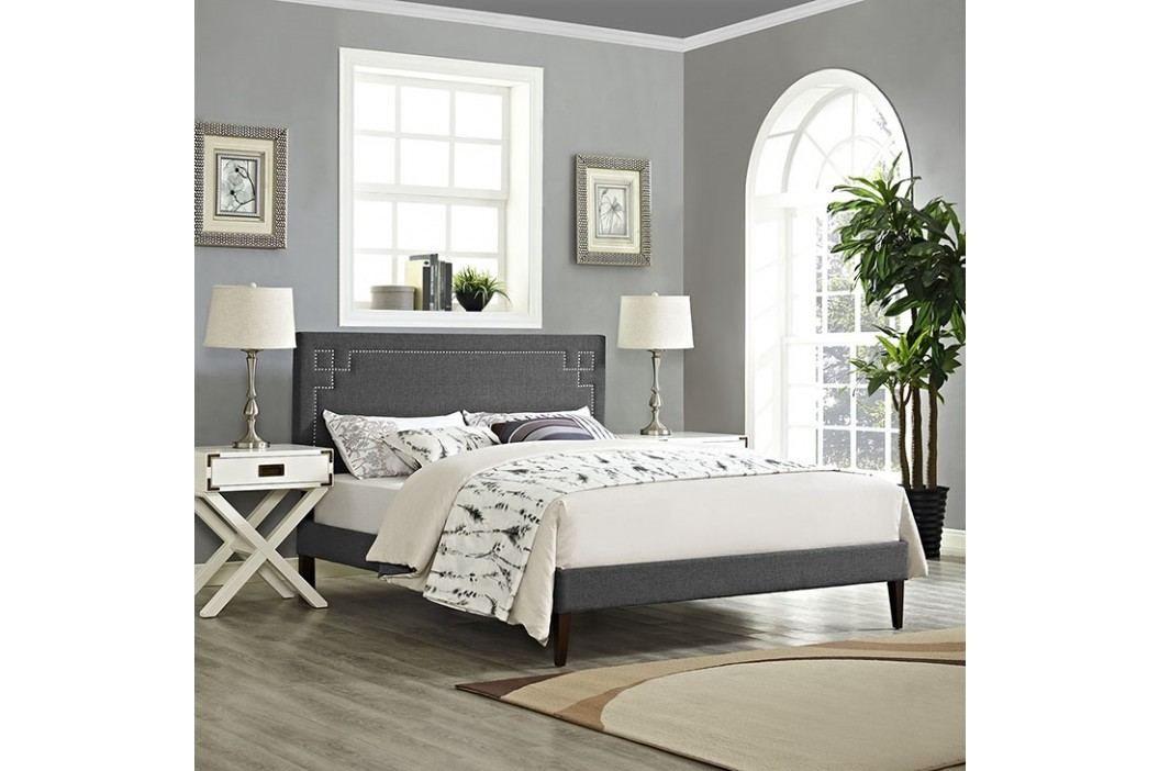 Josie Queen Fabric Platform Bed with Squared Tapered Legs in Gray Beds