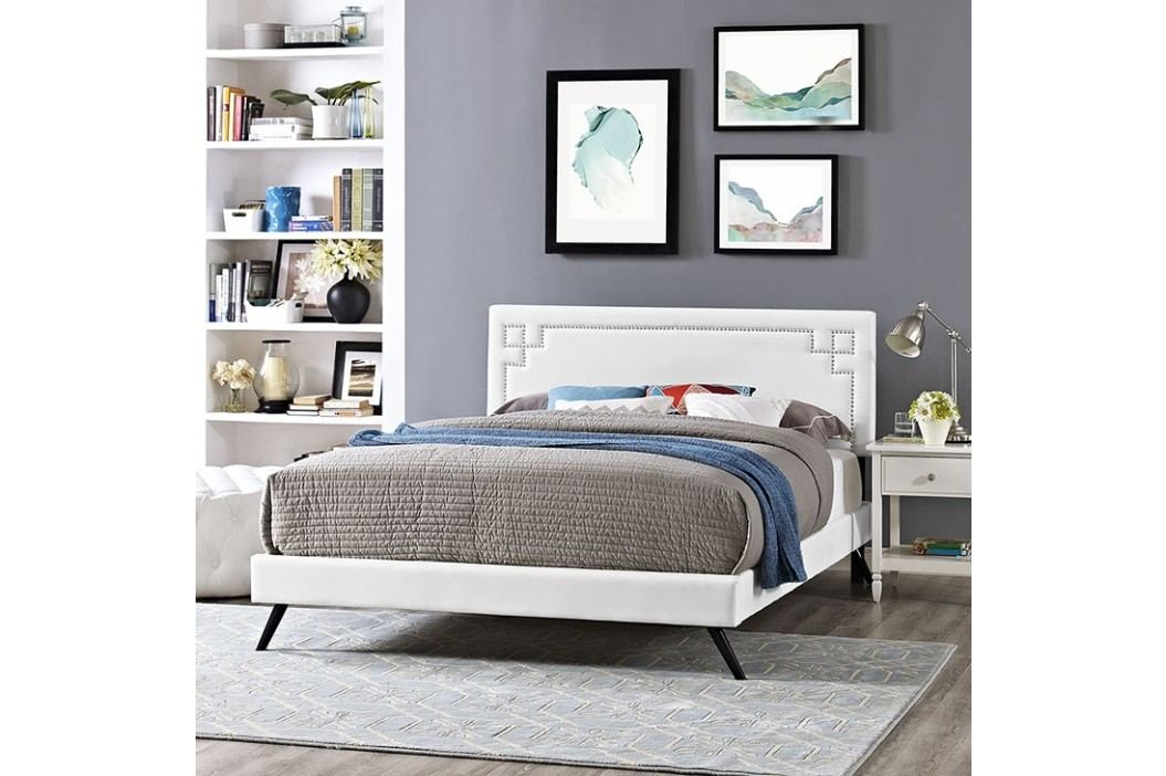 Josie Queen Vinyl Platform Bed with Round Splayed Legs in White Beds