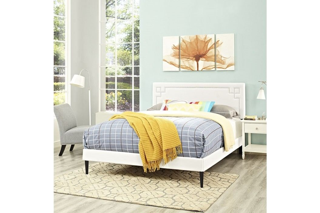 Josie Queen Vinyl Platform Bed with Round Tapered Legs in White Beds