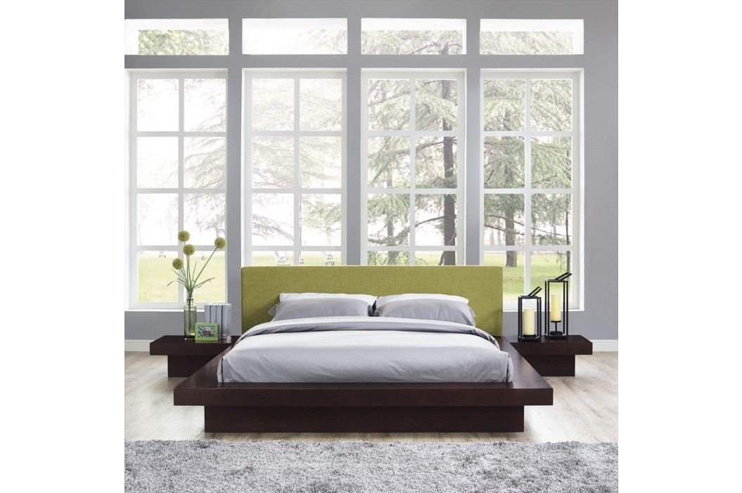 Freja 3 Piece Queen Fabric Bedroom Set in Cappuccino Green Products