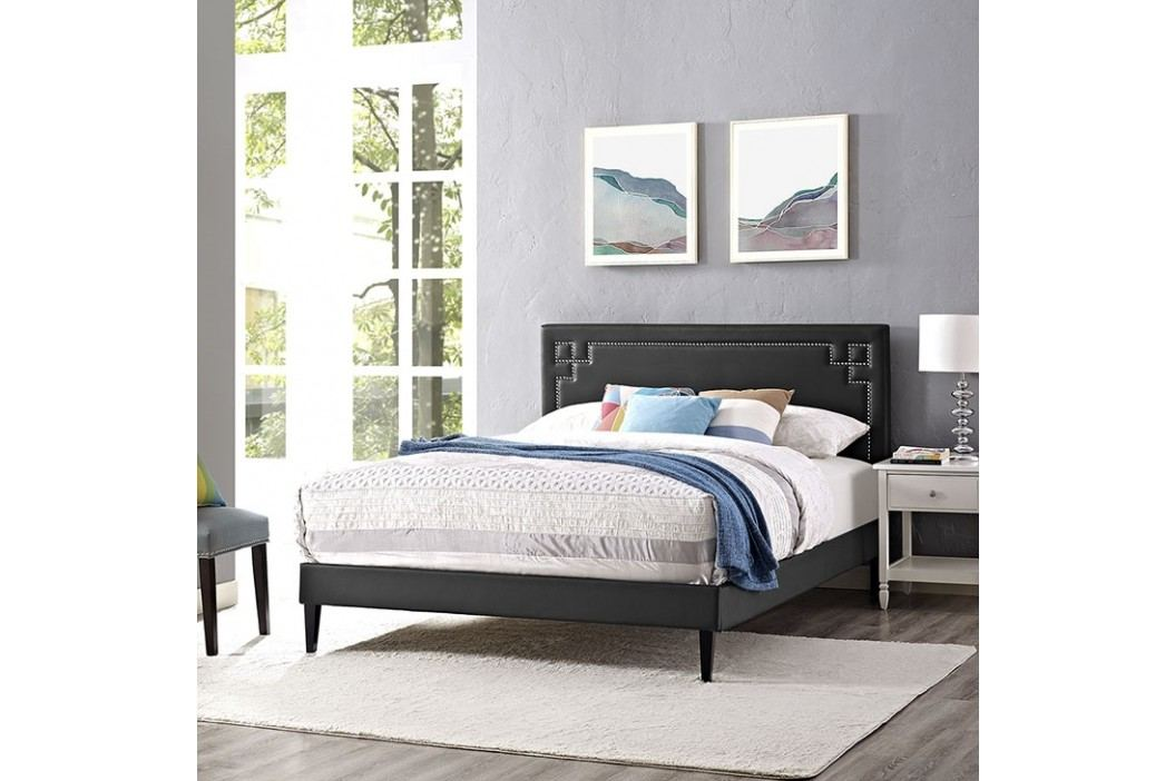 Josie Queen Vinyl Platform Bed with Squared Tapered Legs in Black Beds