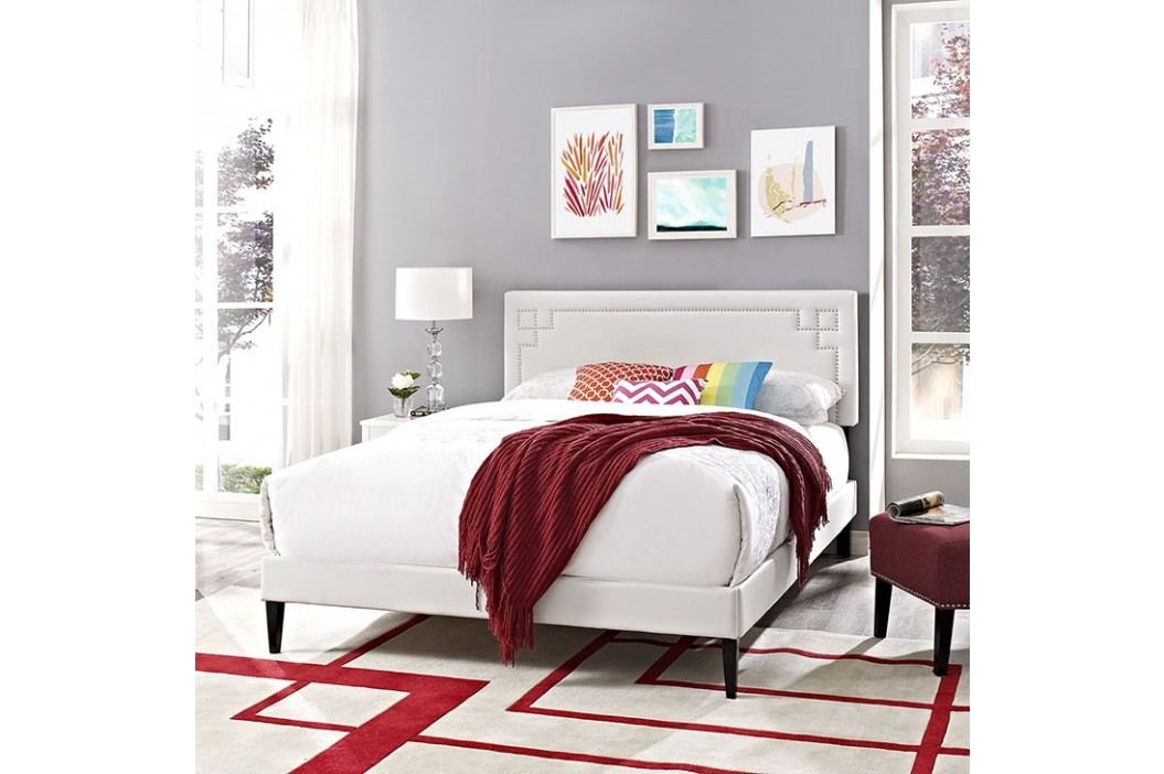 Josie Queen Vinyl Platform Bed with Squared Tapered Legs in White Beds