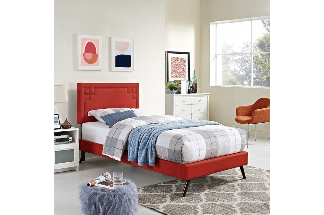Josie  Twin Fabric Platform Bed with Round Splayed Legs in Atomic Red Beds
