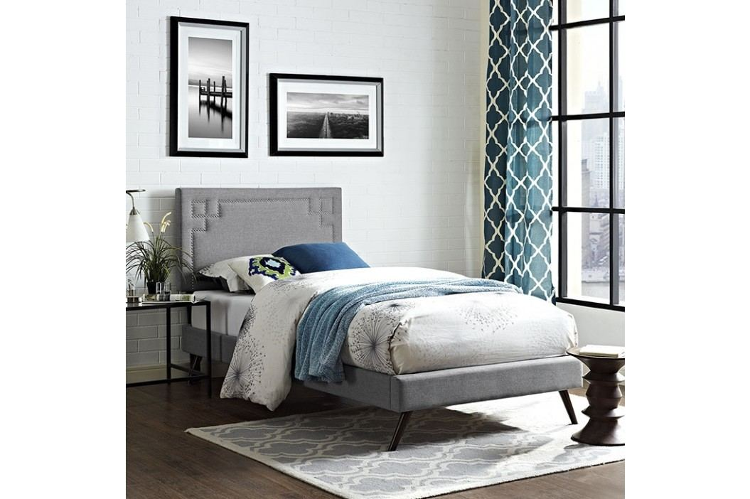 Josie  Twin Fabric Platform Bed with Round Splayed Legs in Light Gray Beds