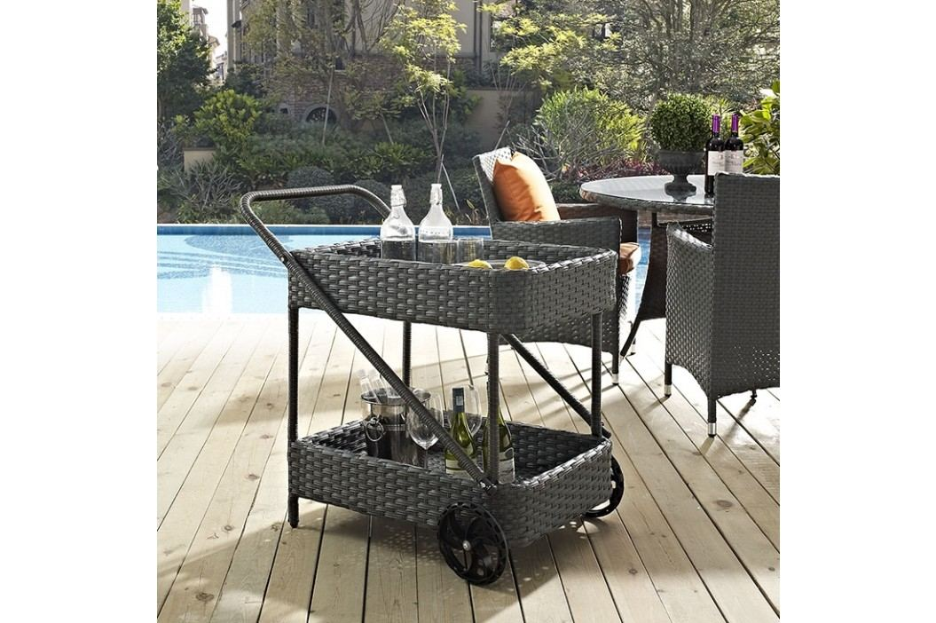 Sojourn Outdoor Patio Beverage Cart in Chocolate Outdoor Lounge Sets