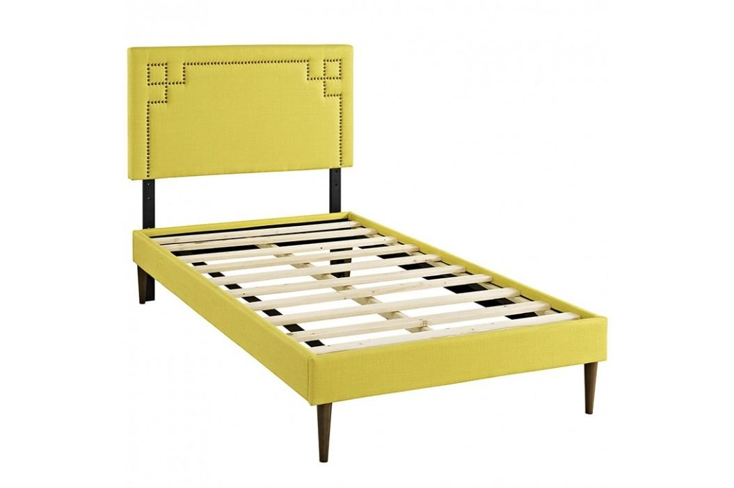 Josie  Twin Fabric Platform Bed with Round Tapered Legs in Sunny