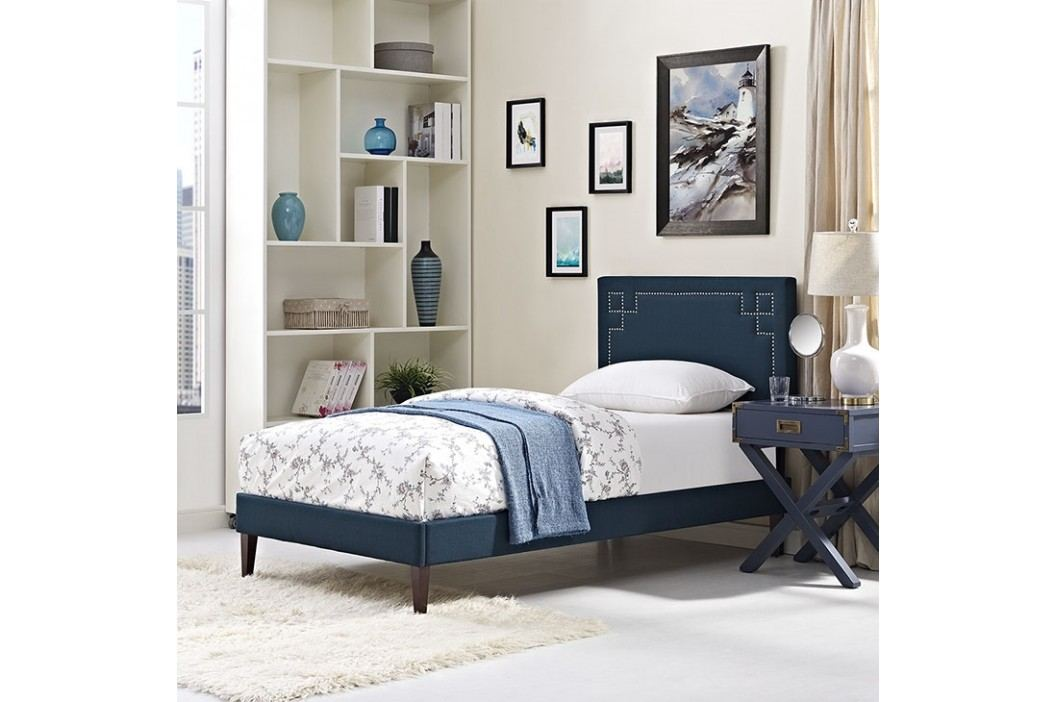 Josie  Twin Fabric Platform Bed with Squared Tapered Legs in Azure Beds