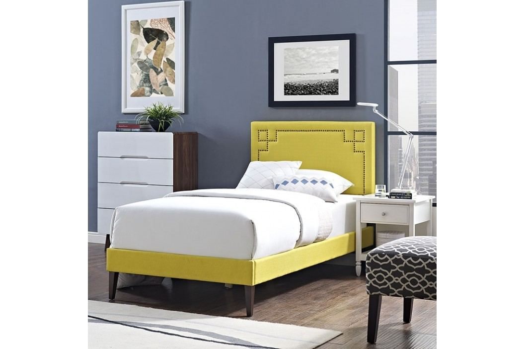 Josie  Twin Fabric Platform Bed with Squared Tapered Legs in Sunny Beds