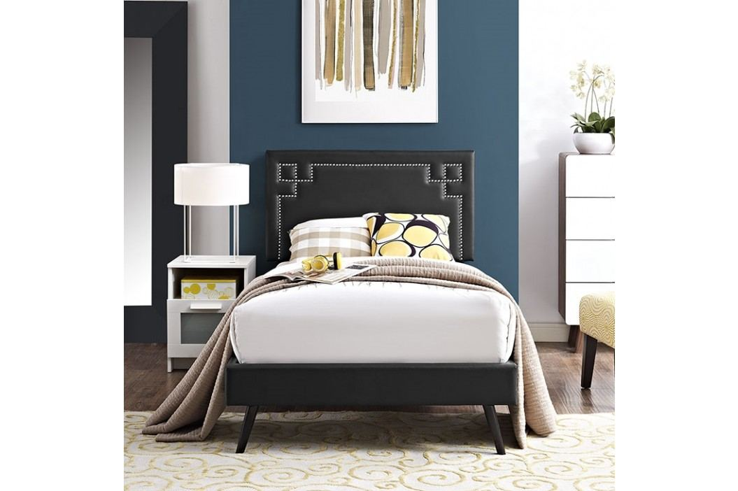 Josie  Twin Vinyl Platform Bed with Round Splayed Legs in Black Beds
