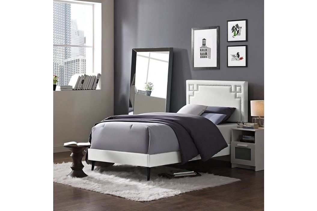 Josie  Twin Vinyl Platform Bed with Round Tapered Legs in White Beds