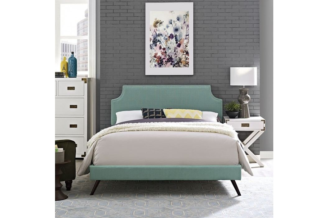 Laura Full Fabric Platform Bed with Round Splayed Legs in Laguna Beds