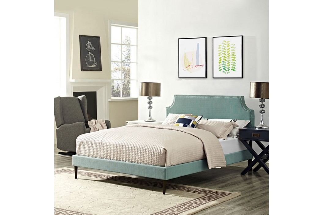 Laura Full Fabric Platform Bed with Round Tapered Legs in Laguna Beds