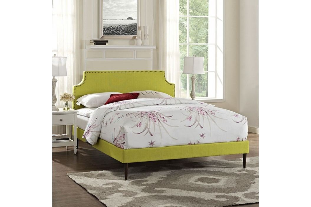 Laura Full Fabric Platform Bed with Round Tapered Legs in Wheatgrass Beds