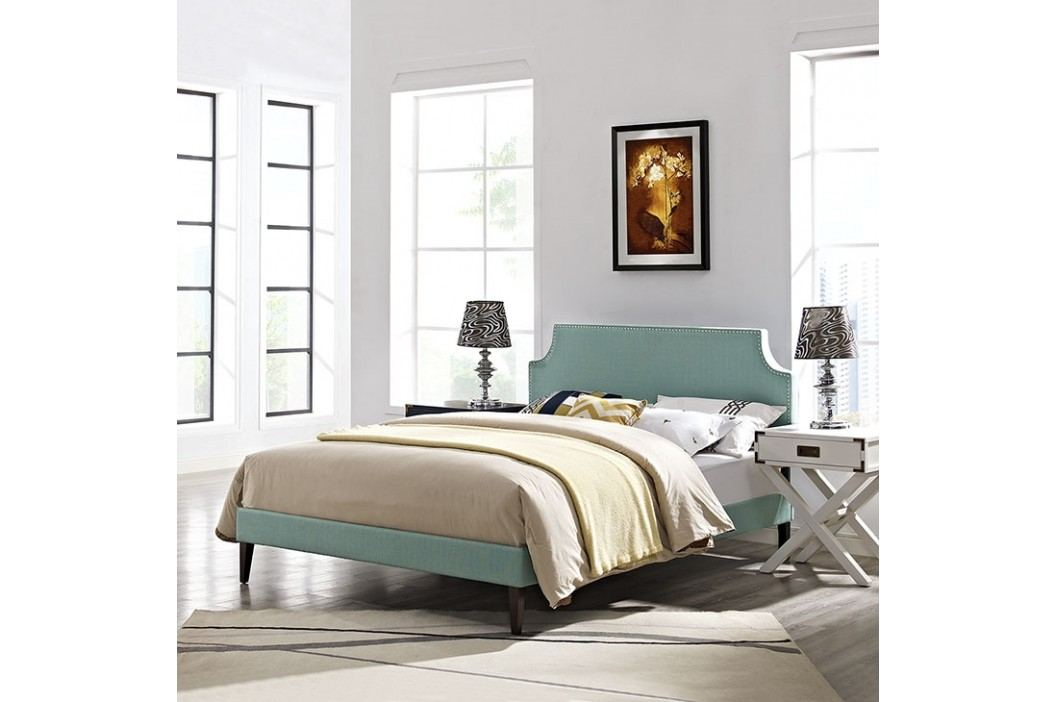 Laura Full Fabric Platform Bed with Squared Tapered Legs in Laguna Beds