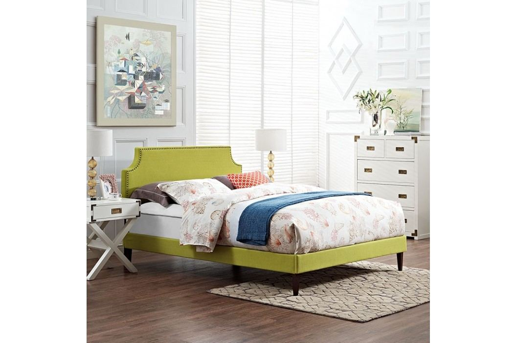 Laura Full Fabric Platform Bed with Squared Tapered Legs in Wheatgrass Beds