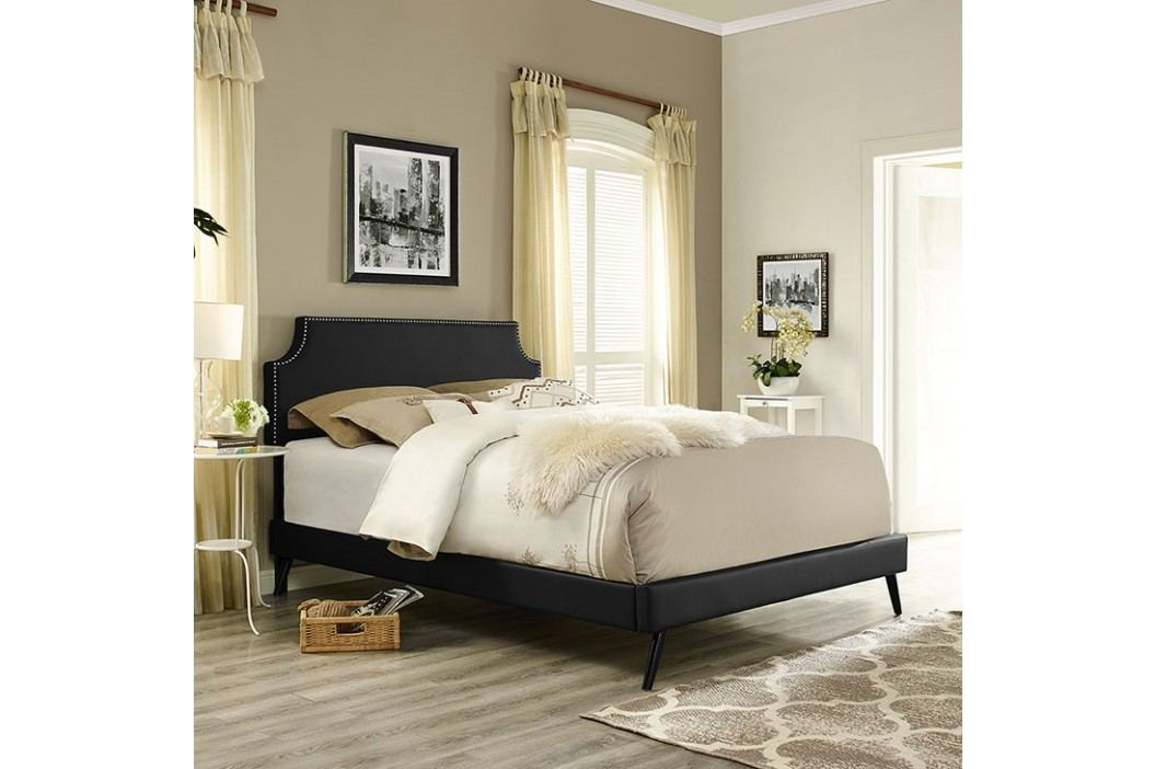 Laura Full Vinyl Platform Bed with Round Splayed Legs in Black Beds