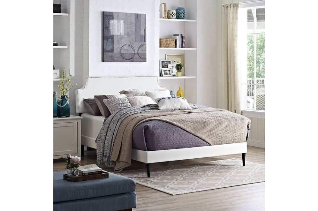 Laura Full Vinyl Platform Bed with Round Tapered Legs in White Beds