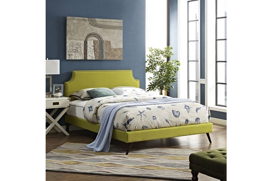 Laura King Fabric Platform Bed with Round Splayed Legs in Wheatgrass Beds