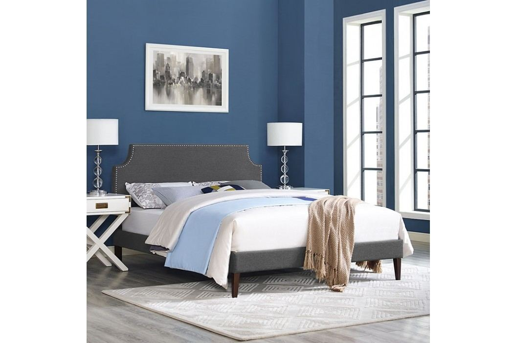 Laura King Fabric Platform Bed with Squared Tapered Legs in Gray Beds