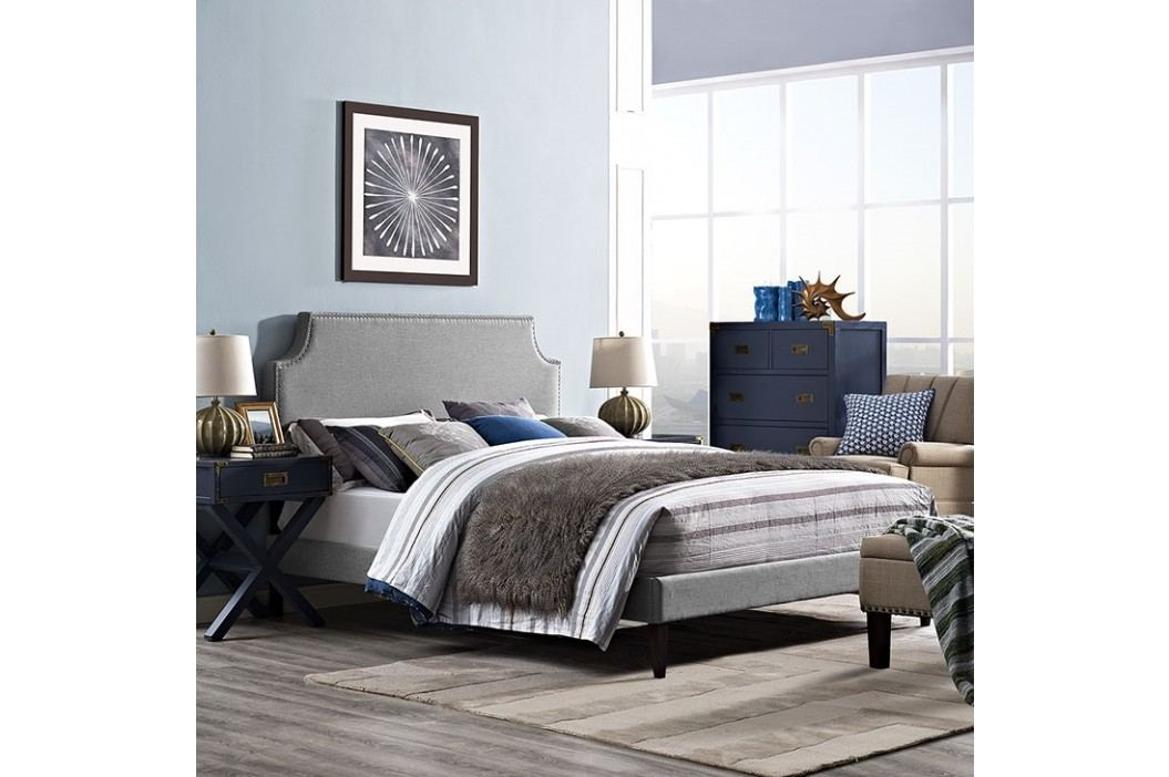 Laura King Fabric Platform Bed with Squared Tapered Legs in Light Gray Beds