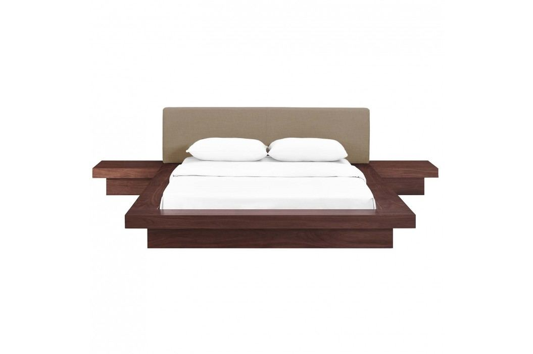 Freja 3 Piece Queen Fabric Bedroom Set in Walnut Latte