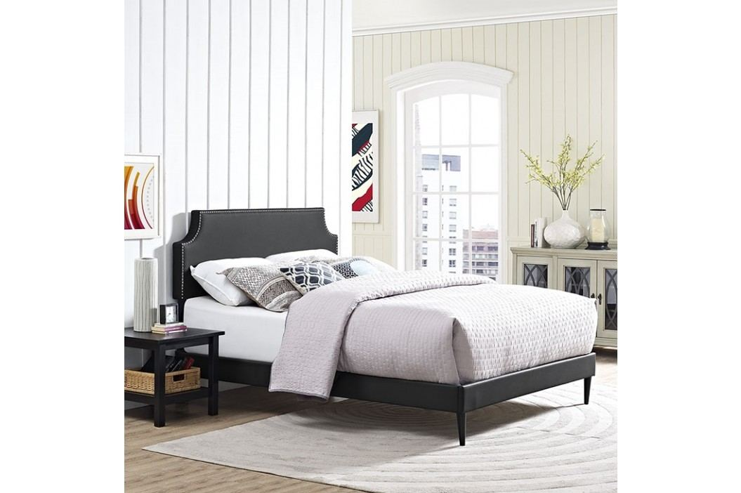 Laura King Vinyl Platform Bed with Round Tapered Legs in Black Beds