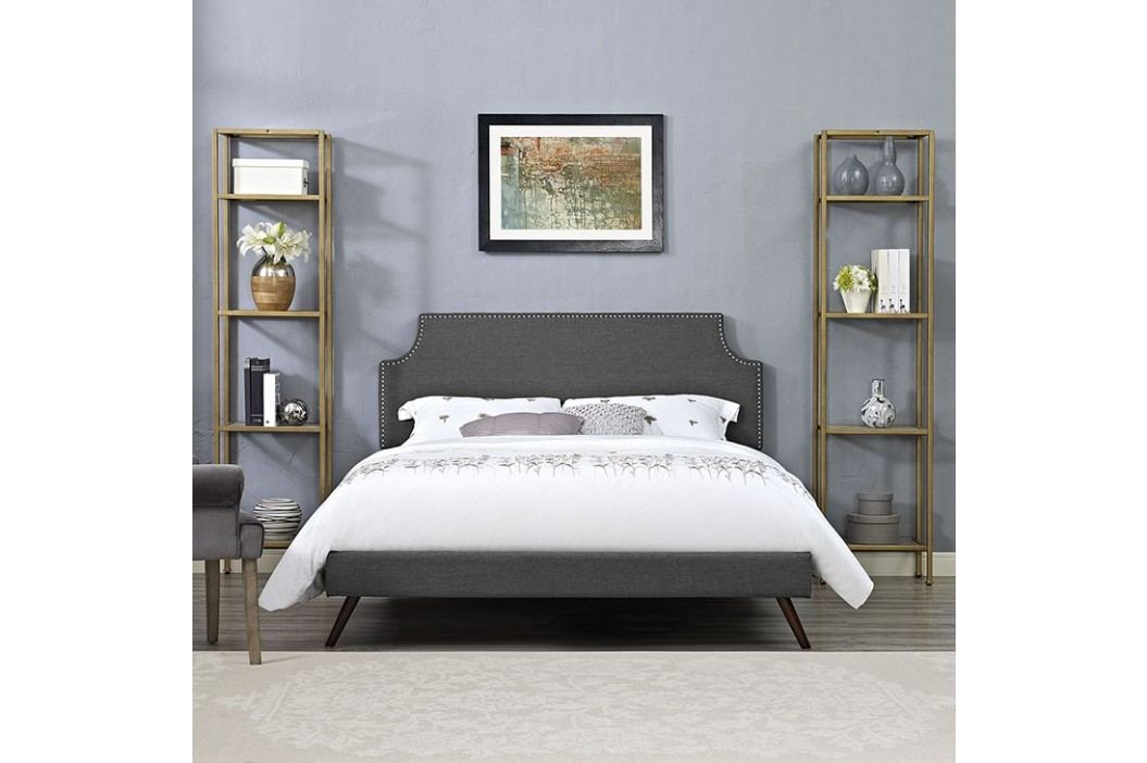 Laura Queen Fabric Platform Bed with Round Splayed Legs in Gray Beds