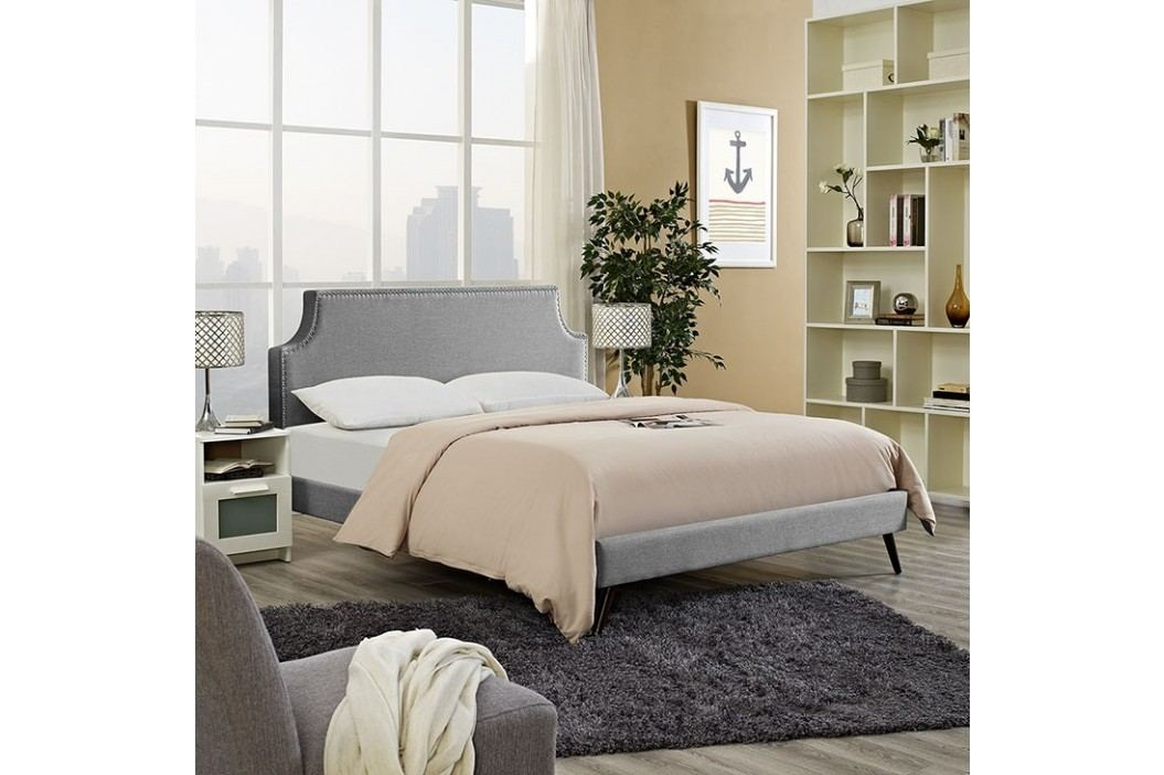 Laura Queen Fabric Platform Bed with Round Splayed Legs in Light Gray Beds