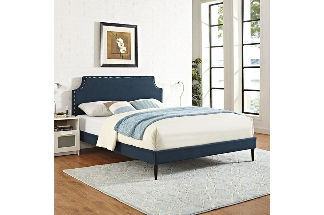 Laura Queen Fabric Platform Bed with Round Tapered Legs in Azure Beds